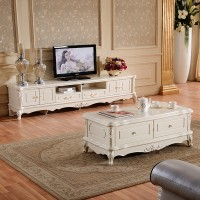 European Style Tv Cabinet Table Combination