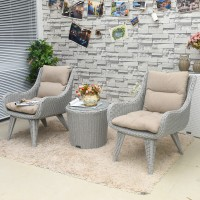 Outdoor Furniture Rattan Tea Table And 2 Chairs Combination