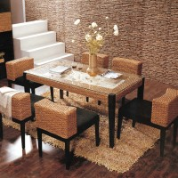Natural Rattan Dining Table And Dining Chair Set