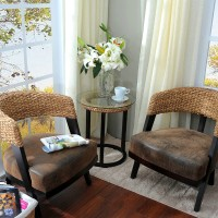 2Pcs Rattan Dining Chair With One Table