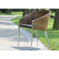 King Costes Coffee Chair In PU Leather With Electroplating Legs