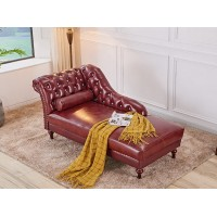 Charming Blue Leather Lounge Chaise Sofa