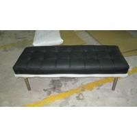 Black Barcelona Short Bench in stainless steel frame