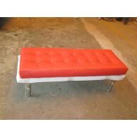 Red Barcelona Short Bench in stainless steel frame