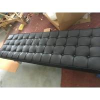 Black Barcelona Long Bench in stainless steel frame