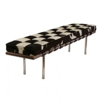Cowhide Barcelona style Bench with no piping