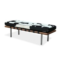 Cowhide Barcelona style Bench