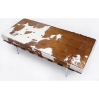 Pony Skin Leather Barcelona style Bench with no piping