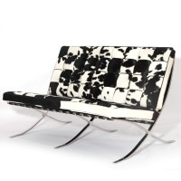 Cowhide Barcelona Loveseat Cushions With No Piping