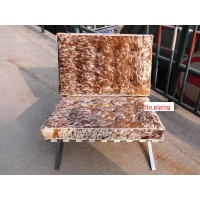 Pony Skin Leather Barcelona Chair Cushions with no piping