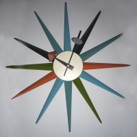 George Nelson Classic Wooden Sunburst Sunshine Clock In Real Walnut