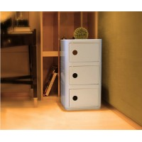 Kartell Style Componibili Square Storage Towers,Three Doors