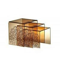 Crystal Acrylic Hollow Tea Table Three Piece Set Coffee Table