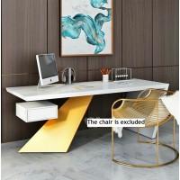 Nasdak Style Desk In White And Golden Color