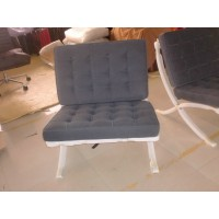 Dark Grey Fabric Barcelona Chair
