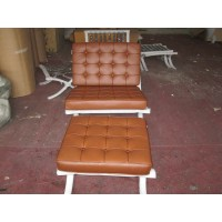 Saddle Barcelona Chair with Ottoman
