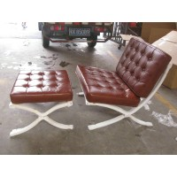 Sorrel Barcelona Chair with Ottoman