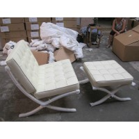 White Barcelona Chair with Ottoman