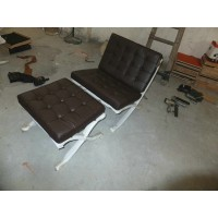 Dark Brown Barcelona Chair with Ottoman