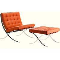 Orange Barcelona Chair with Ottoman