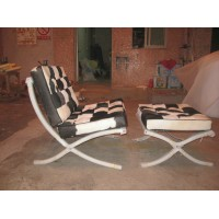 Cowhide Barcelona Style Chair with Ottoman