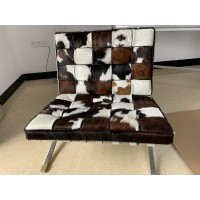Pony Skin Leather Barcelona Style Chair with no piping