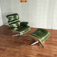 Eames Style Lounge Chair And Ottoman In Aluminimum Shell