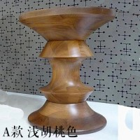 Eames Style Walnut Stool in Light Walnut of B