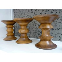 Eames Style Walnut Stools in Dark Walnut of 3pcs as a set