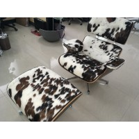 Eames Style Lounge Chair and Ottoman in Tri-Color Pony Skin Leather