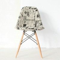 Dsw Eames Style Fabric Padded Side Dining Chair With Button And Wooden Legs Base