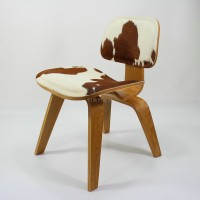 Eames Style DCW plywood dining Chair in Pony Skin Leather