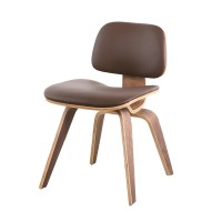 Eames Style DCW plywood dining Chair in Italian Leather