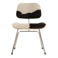 Eames Style DCM plywood dining Chair in Cowhide