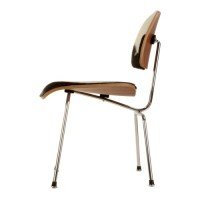 Eames Style DCM plywood dining Chair in Pony Skin Leather