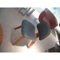 Eames Style LCW plywood dining Chair in Real Leather