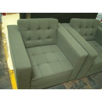 Florence Knoll Single Armchair Sofa In Sueded Fabric