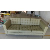 Florence Knoll Sofa,Three Seats, Made In Real Calf Leather