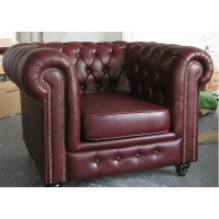 Chesterfield Single Chair,Armchair In Real Calf Leather