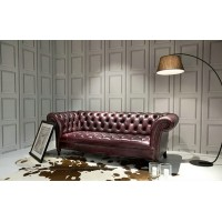 Loveseat Of Chesterfield Tufted Luxury Sofa In Aniline Leather