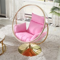 Bubble Chair In Globe Style In Golden Color With Stand And No Chain