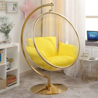 Bubble Chair In Golden With Stainless Steel Stand And Chain