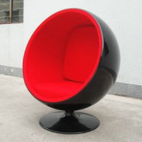 Ball Chair In Black Shell With Red Fabric Interior