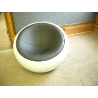 Scoop Chair In Black PU Leather With White Exterior