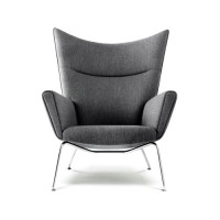 Hans J Wegner Style Wing Chair,Made In Fabric