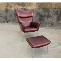 Hans J Wegner Style Wing Chair Made In Leather