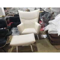 Hans J Wegner Style Wing Chair In White Leather