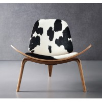 Hans Wegner style Three Legged Shell Chair in Cowhide Leather