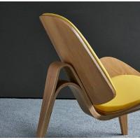 Hans Wegner Style Three Legged Shell Chair In PU Leather