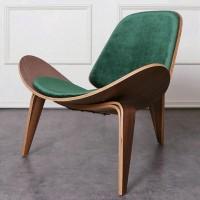Hans Wegner style Three Legged Shell Chair in Green Velvet